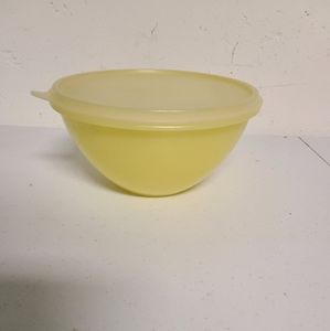 Yellow Tupperware bowl